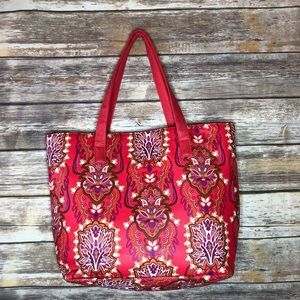 Vegan leather tote market bag floral purse bright